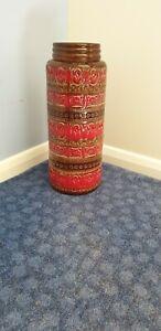 Vintage West German grande de pie florero de cerámica rara Rojo 289-41 45CM Alta