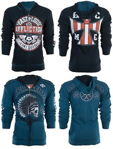 Humour Affliction Hommes Hoodie Sweat Shirt Veste Zippée Réversible Arrow Biker Ufc 98 $-afficher Le Titre D'origine