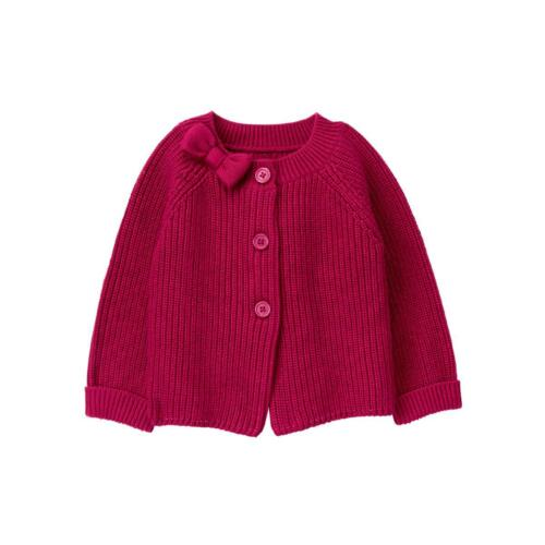 NWT Janie And Jack Rose Terrace Knit Bow Cardigan Size 7  10 12 Raspberry Girls