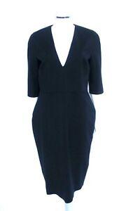 NEW-Victoria-Beckham-Black-Sleeve-3-4-sleeve-V-neck-Dress-UK-16-14