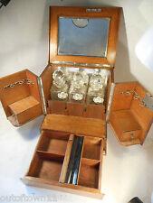 Antique 3 Cut Glass Decanter Compendium Tiger Oak Tantalus ref 1517 30/3HS550