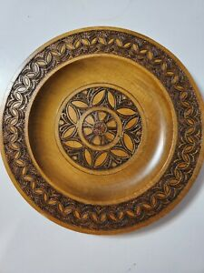Vintage-Hand-Carved-Wooden-Decorative-Plate-Wall-Hanging-Decor