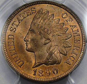1890 Indian Cent MS64RB NGC