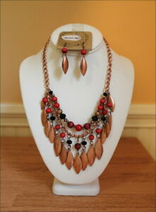 South-West-Cowgirl-Copper-Charms-Red-Black-Burgundy-Beads-Tribal-Necklace-Set
