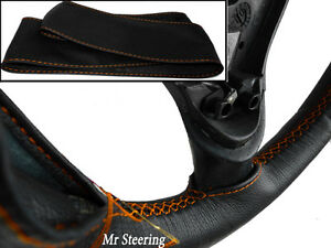 FITS-CITROEN-C5-MK1-BLACK-REAL-LEATHER-STEERING-WHEEL-COVER-01-07-ORANGE-STITCH