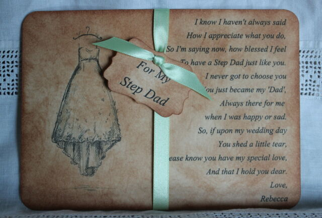 STEP DAD-Step Father of the Bride Thank You Card-Personalised-Vintage Style