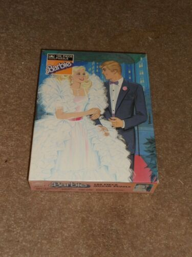 1987 Crystal Barbie & Ken Vintage 100 Piece Jigsaw Puzzle Sealed Golden 100 Pc