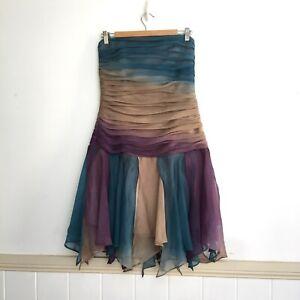 Womens-Envy-Dress-Size-12-Sleeveless-Zipper-Lined-Flounce-Race-Event-Carnival