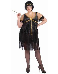 1920\'S Black Plus Size Fringe Adult Flapper Gatsby Dress Costume | eBay