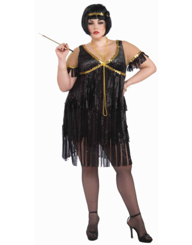 1920/'S Black Plus Size Fringe Adult Flapper Gatsby Dress Costume