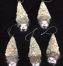 Bottlebrush Christmas Tree Pastel Ball Ornaments Snow Retro Set 5 Twos Company