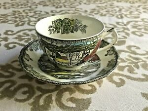 Johnson-Brothers-034-The-Friendly-Village-Cup-amp-Saucer-Set-Ice-House-England