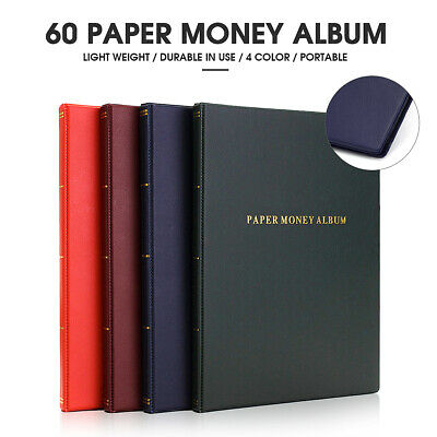 60 Pockets Soft Leather Notes Album Banknote Paper Money Collection Stamps Book