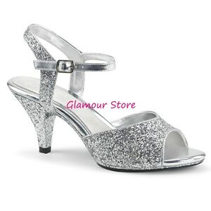 Glamour 35 Dal Tacco Argento Sandali 46 Sexy Scarpe Al 5 Cinturino 7 Glitter 6xH1CwUCq