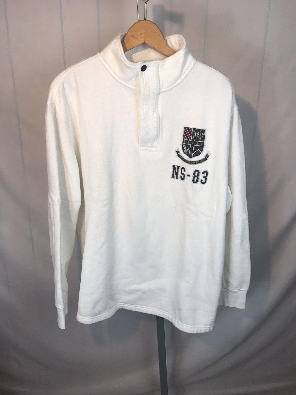 NAUTICA Sportswear Sweater 1 4 Zip PATCH White Crest Patches Sz XL NS-83 (AU)