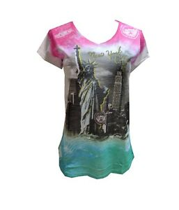 Women-039-s-Sublimation-T-Shirt-Statue-of-Liberty-New-York-V-Neck-size-LARGE