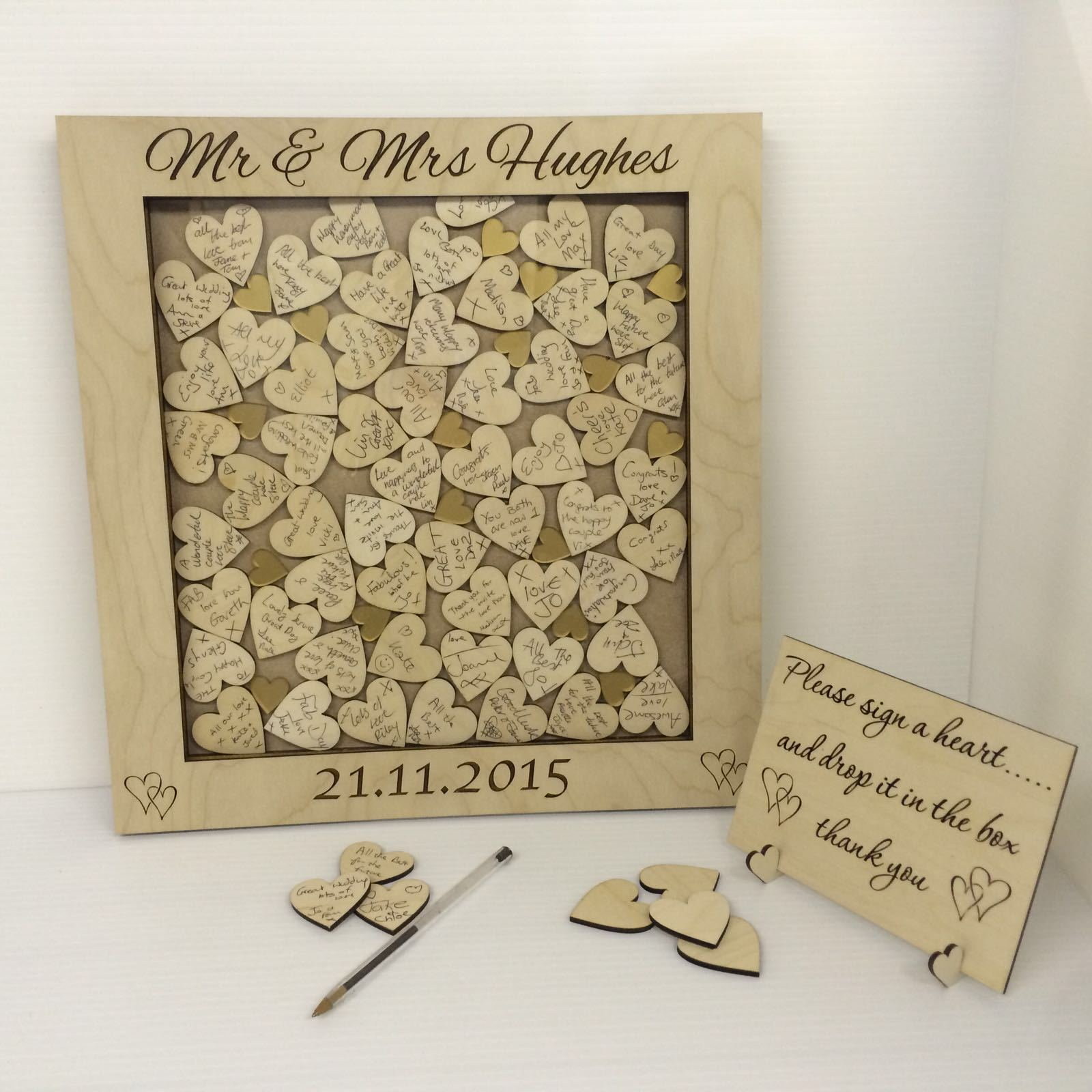 Personalised birch plywood Gold hearts drop box wedding guest book gift rustic