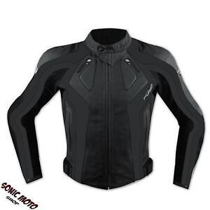Giacca-Racing-Sport-Pelle-Moto-Giubbino-Protezioni-Omologate-Nero