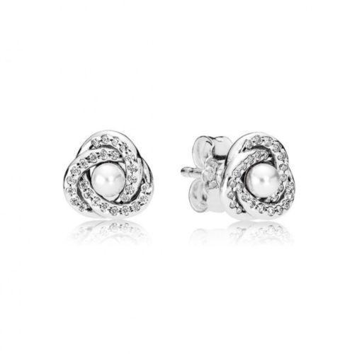 Pandora luminoso Love Knot Orecchini ORIGINALE S925 ALE