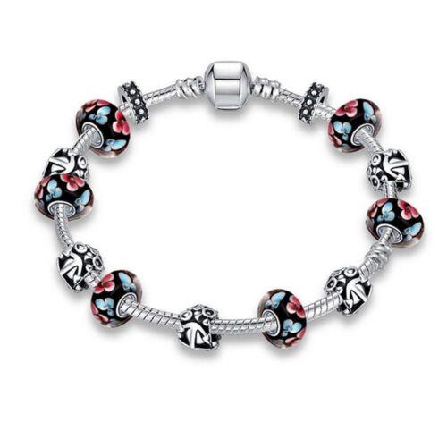 Lau-Fashion 925 plata señora charm negro cadena Charms remolque Flores