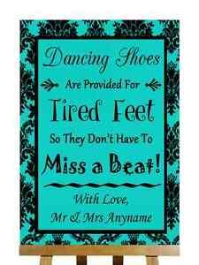 Turquesa Negro zapatos de baile con los pies cansados Personalizado Boda Signo