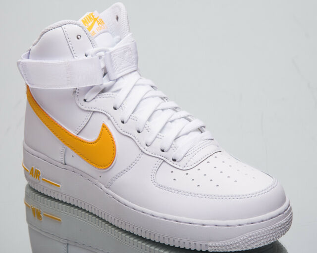 best sneakers 6b993 19f90 Nike Air Force 1 High  07 3 Men s New White Gold Lifestyle Sneakers AT4141-