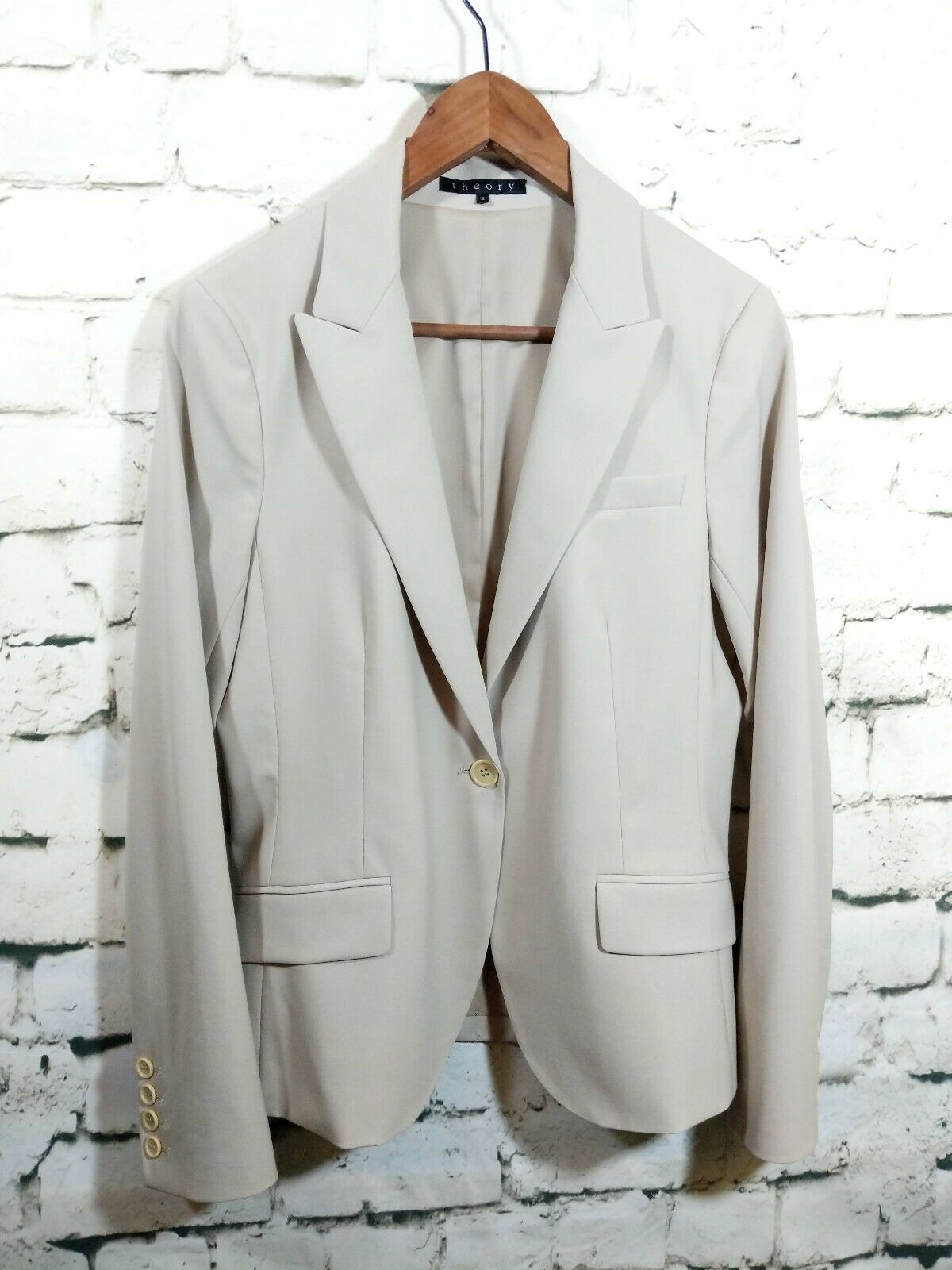 Theory Womens 12 Wool Blazer Single one button Beige Lined Light shoulder padded