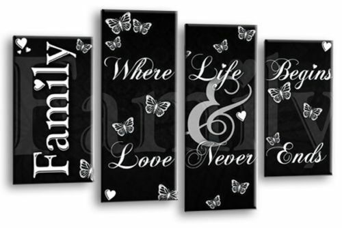 Family Canvas Wall Art Picture Print Quote Black And White 4 Panel