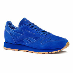 Women's Reebok Leather Classic Trainers Navy Suede Blue TTq4rWp1F