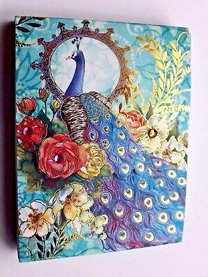 *PUNCH STUDIO Mini 75 Sheet Gold Foil Pocket Note Pad ~ Floral ~Roses ~ Peacock