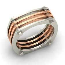 8 mm Two Tone Men's Wedding Band / Ring In Solid 10k White Gold - Free Engrave