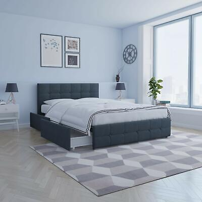 Queen Size Platform Bed Frame With 4 Storage Drawer Tufted