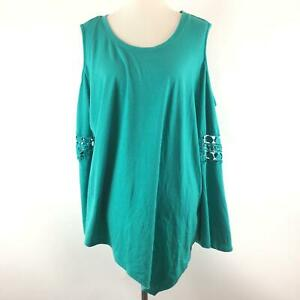 New-Directions-Curvy-Womens-Cold-Shoulder-Blouse-Plus-Size-3X-Teal-Stretch-Top