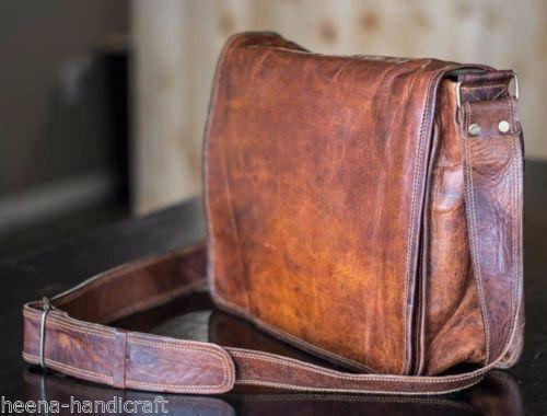 New Men/'s Vintage Brown Leather Full Flap Messenger Satchel Shoulder Bag