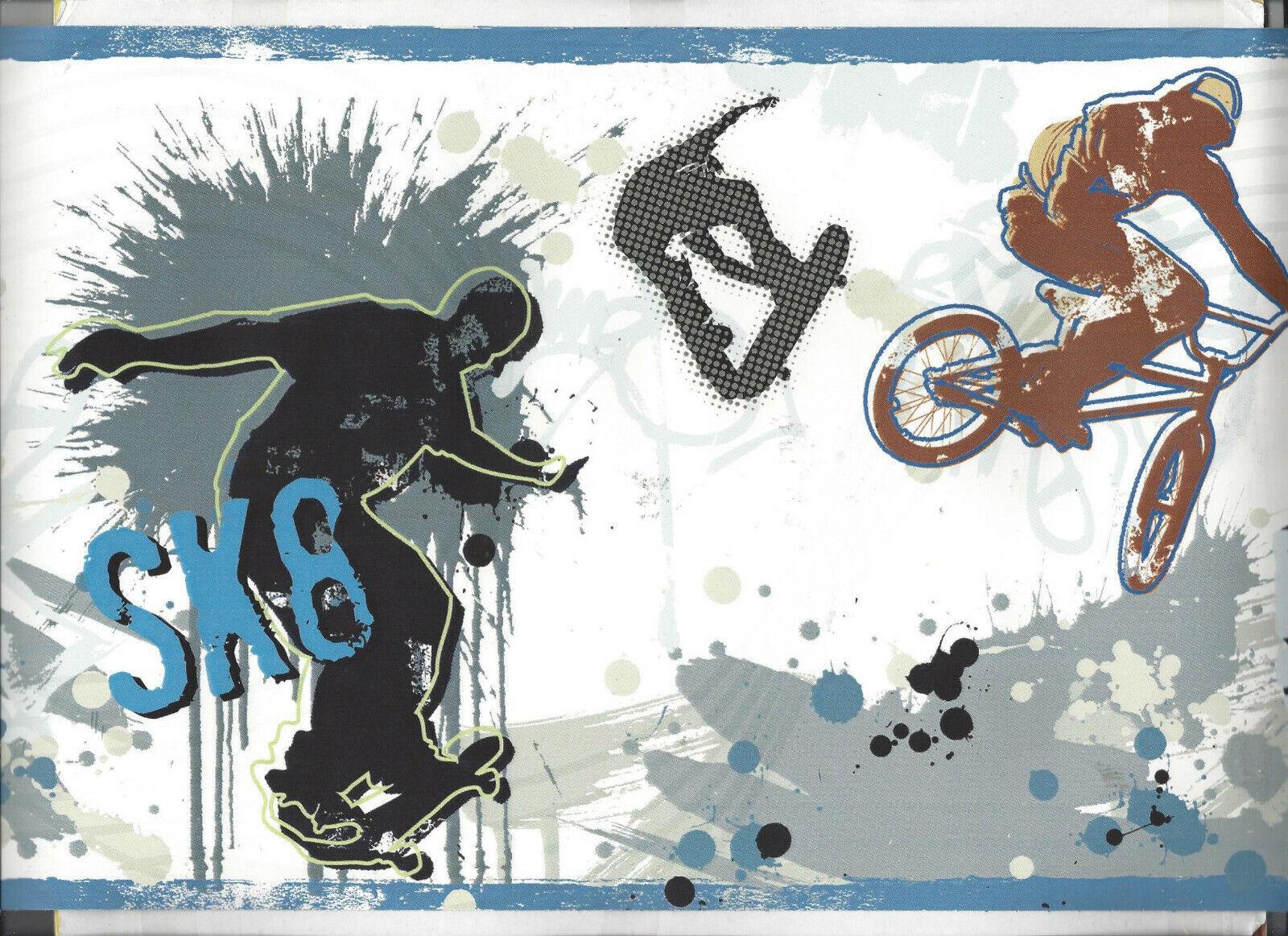 WALLPAPER BORDER SKATEBOARD DIRT BIKE MOTORCYCLE BMX BIKE RACING TEEN SPORTS NEW
