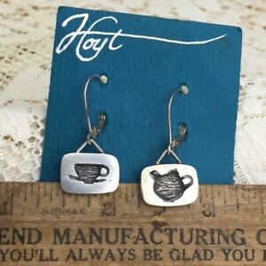 New-Vintage-Hoyt-Sterling-Silver-Earrings-Tea-Cup-Pot-Coffee-Pendant-925-Signed