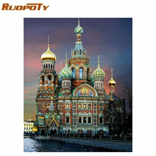 RUOPOTY 60x75cm Castle Frame Diy Painting By Numbers Landscape Acrylic Paint By