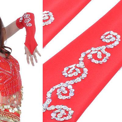 C136 ein Paar Bauchtanz Armstulpen mit silbernen Paillenten Orientalischer Tanz