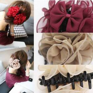 Frauen-Chiffon-Rose-Blume-Bogen-Kiefer-Clip-Haarspange-Haargreifer-Geschenke-039