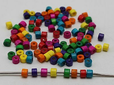 1000 Mixed Color 5X4mm Mini Column Heishi Wood Beads~Wooden Beads