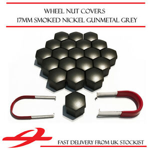 TPI Gunmetal Grey Wheel Bolt Nut Covers 17mm Nut for Mercedes C-Class W205 14-17