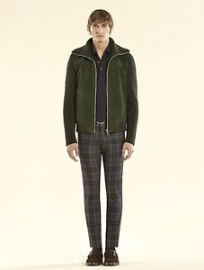 3100-New-Authentic-Gucci-Bottle-Green-Suede-Bomber-w-Knit-Sleeves-323270-3100