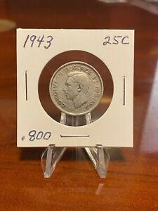 1943 CANADA SILVER 25 CENTS COIN GEORGE VI SILVER QUARTER