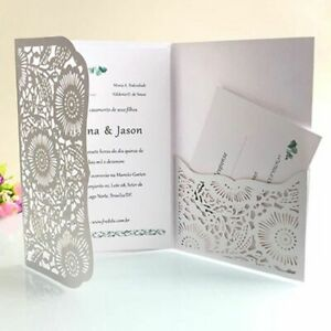 Details About Pocket Laser Cut Invitation Wedding Card With Rsvp Greeting Single Page Supplies