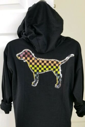Secret Pink cappuccio con a con motivo scacchi nera Bling Victoria's cappuccio Felpa con di q6RTA0