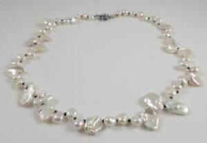 Cream White Freshwater Keshi Pearl & Hematite Spacer Necklace 18.5''