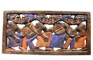 Arte Africano - Quadro Yoruba - Scena Di Danse - Legno Lavorato - 61,5 CMS