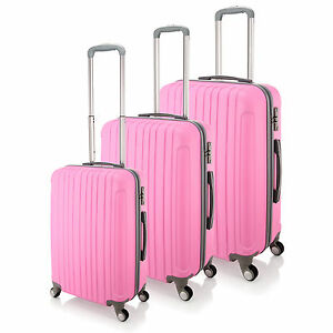 4 Wheel Spinner Suitcase PINK ABS Luggage Trolley Case Cabin Carry ...