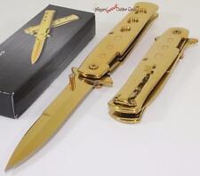 Super Full Gold Godfather Stiletto Spring Assisted Opening Folding Pocket Knife