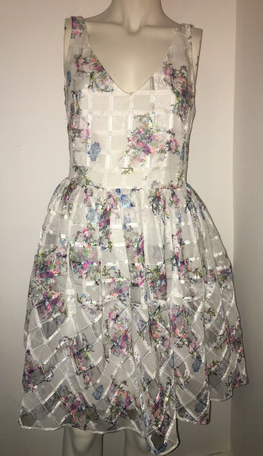 NEW Anthropologie Maeve Sheer Floral Trellis Print Fit Flare Dress Wedding